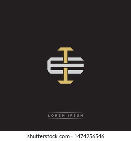 Logo initial IE EI monogram letter vintage style gold and grey colors isolated on black background