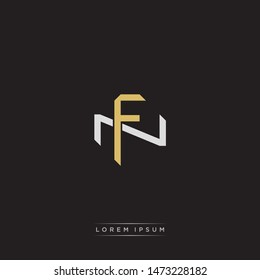 Logo initial FN F N NF monogram letter vintage style gold and grey colors isolated on black background