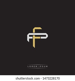 Logo initial FP F P PF monogram letter vintage style gold and grey colors isolated on black background