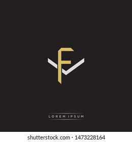 Logo initial FV F V VF monogram letter vintage style gold and grey colors isolated on black background