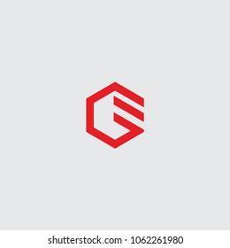 logo initial ge vector hexagon
