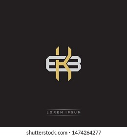 Logo initial KB K B BK monogram letter vintage style gold and grey colors isolated on black background