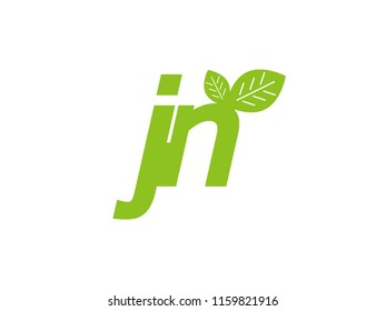 logo initial letter jn with leaf