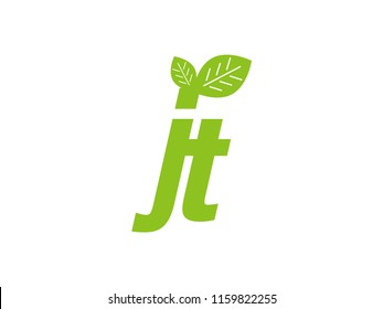 logo initial letter jt with leaf