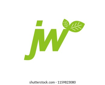 logo initial letter jw with leaf