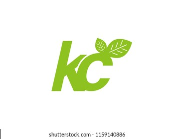 logo initial letter kc with leaf