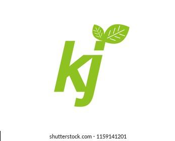 logo initial letter kj with leaf
