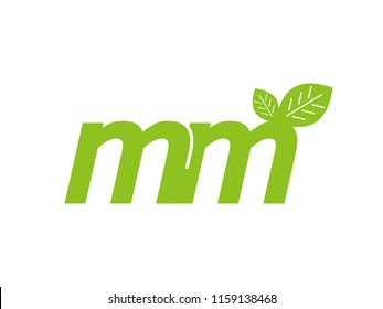 logo initial letter mm with leaf