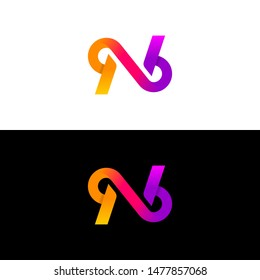 logo initial letter nb linked,  white and black background