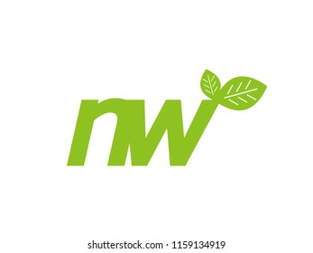 logo initial letter nw with leaf