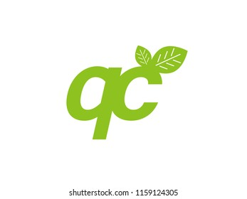 logo initial letter qc with leaf