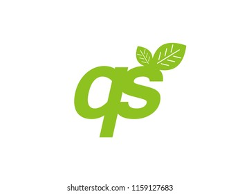 logo initial letter qs with leaf
