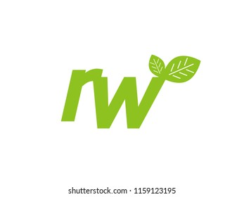 logo initial letter rw with leaf