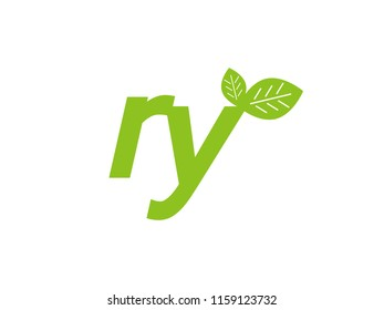 logo initial letter ry with leaf