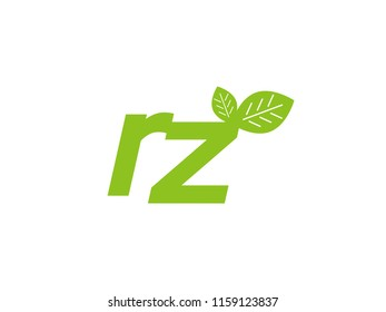 logo initial letter rz with leaf
