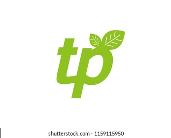 logo initial letter tp with leaf