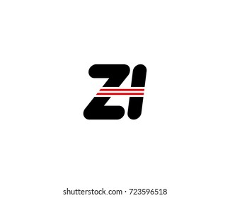 The logo of the initial letter ZI, black red line