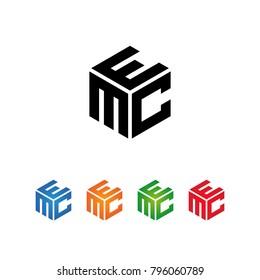 Logo Initial MEC,MCE,CME,CEM,EMC,ECM letters Template.Modern Style. Hexagon shape concept.Black,Blue,Orange,Green,Red color on white background