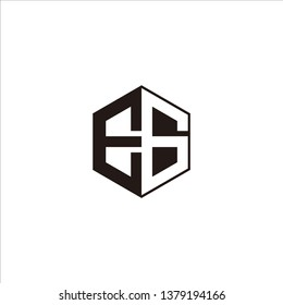 EG Logo Initial Monogram Negative Space Designs Templete with Black color and White Background
