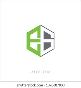 EG Logo Initial Monogram Negative Space Design Template With Green and Grey Color - Vector EPS 10