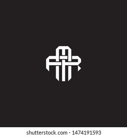 Logo initial MR M R RM monogram locked style with black and white colors
