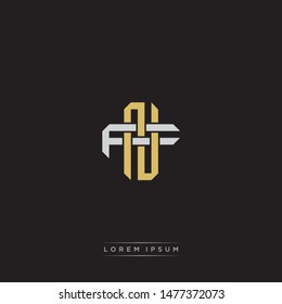 Logo initial NF N F FN monogram letter vintage style gold and grey colors isolated on black background