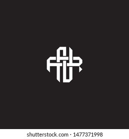 Logo initial NR N R RN monogram locked style with black and white colors