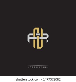 Logo initial NR N R RN monogram letter vintage style gold and grey colors isolated on black background