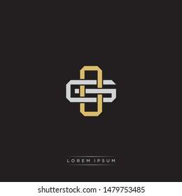 Logo initial OG O G GO monogram letter vintage style gold and grey colors isolated on black background