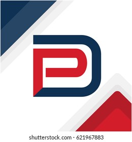 logo initials combination of letters D and P