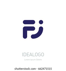 Logo with Initials F and J. Vector logotype template with letters FJ.