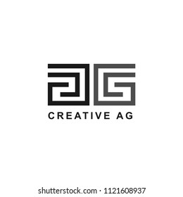logo initials the letter AG, with the concept of a simple line and look elegant