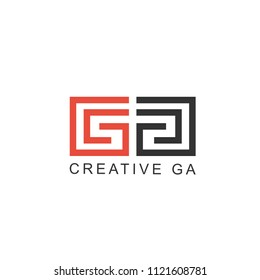 logo initials the letter GA, with the concept of a simple line and look elegant