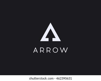Logo with the initials white letter A, with hidden arrow symbol isolated on black background. Vector smart mark of letter A. Triangle with arrow symbol inside