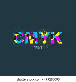logo with ink splashes elements in a CMYK color scheme isolated on black background.  Logotype for print service business. Printing technology emblem.
