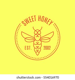 Logo with insect. Badge Bee for corporate identity, packaging luxury brand of bee products, eco-cosmetics, soap, medical products and honey. Trend style in one line.