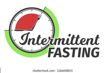 Logo of Intermittent fasting. Clock face symbolizing the principle of Intermittent fasting. Infographic. Vector illustration.
