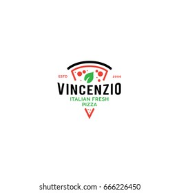 Logo for Italian pizzeria. Line style bright minimalistic pizza restaurant vector symbol