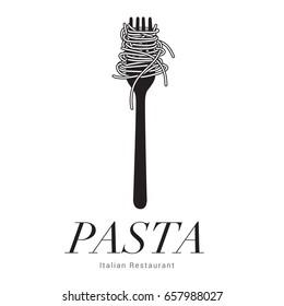 Logo Italian Restaurant, Pasta spaghetti into fork, menu poster, vector illustration
