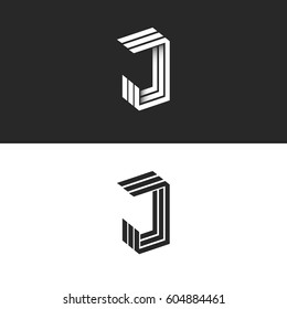 Logo J letter in isometric initial monogram, black and white 3d geometric line shape with shadow. JJJ perspective emblem typography design element.