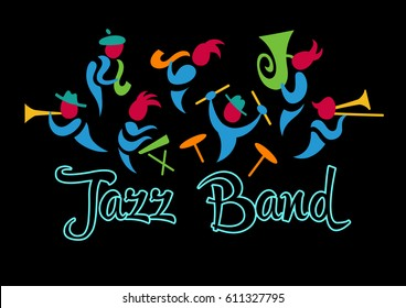 Logo for jazz band. Cheerful musicians and musical instruments
