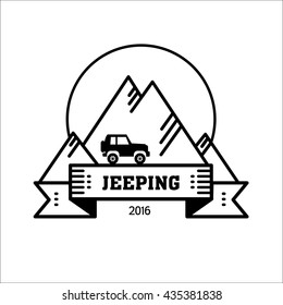 Logo jeeping. Vector sign riding jeep off-road mountains in the background. Travel, tourism, hobby, sport.