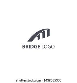 logo jembatan dilihat dari berbagai perspektif yang berbeda berwarna gelap untuk perusahaan anda. minimalis logo