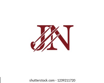 the logo of the JN letter with the style of scratching the incision