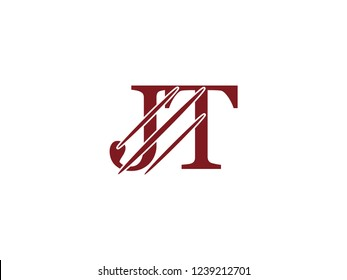 the logo of the JT letter with the style of scratching the incision