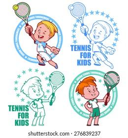 Logo for the junior tennis tournament. Kids tennis. Vector illustration on white background.