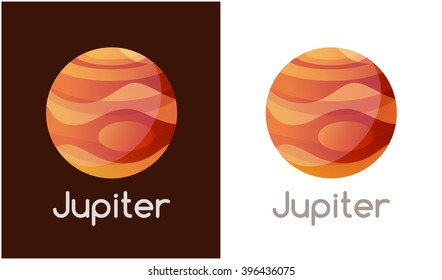 Logo with Jupiter Planet. Vector Illustration isolated on white background.