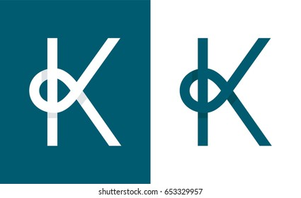 Logo K abstract monogram letter. Vector modern line flat style illustration icon design.Isolated on white background