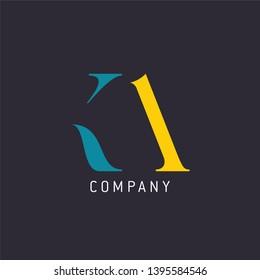 Logo KA letters. Company logo. Design for KA. Monogram logo