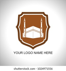 logo kabah with background shield, you can use for travel company, haj and umrah company, Islamic themed company and other business logo need